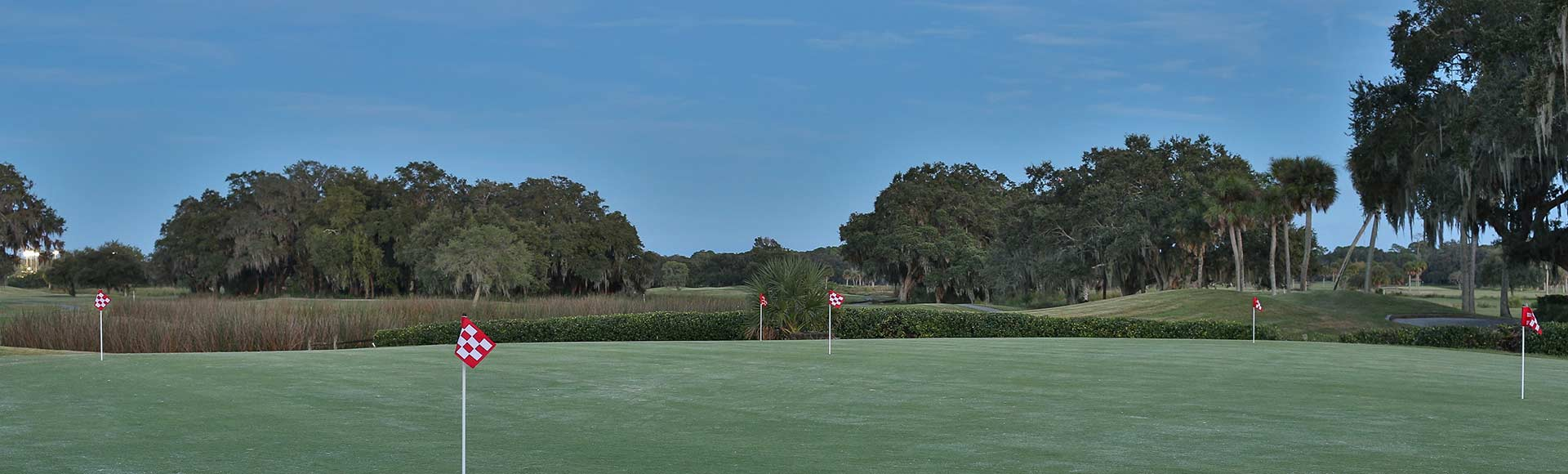 Image of a putting green. shows 5 red and white checkered flags at various lengths apart from one anther. the background is a blue skyed day on the golf course. palm and oak trees fill the space.