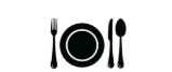 Plate with fork, spoon and knife icon