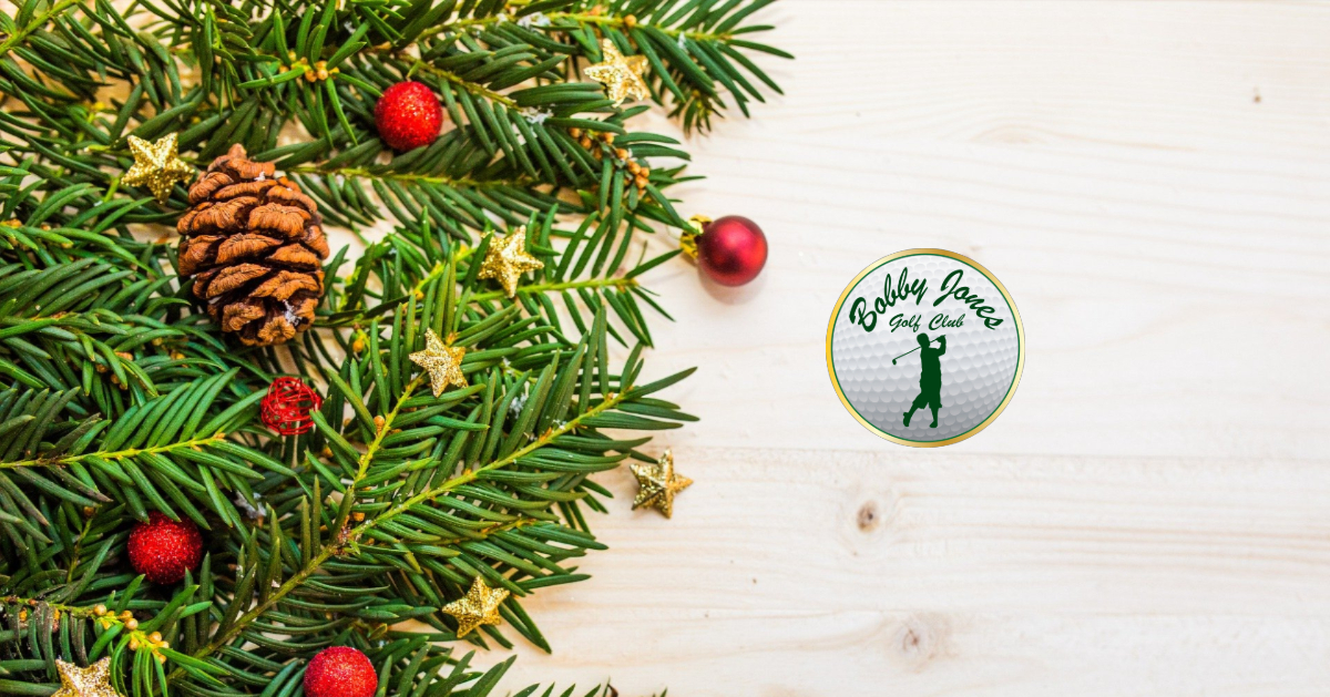 12th annual reindeer games presented by bobby jones golf club. image of reindeer cartoon popping out from green christmas decorated circle that has ordiments, title and december 25, 2019. Bobby Jones, parks and rec and the city logo are along the bottom with the ordiments.