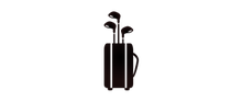 Golf clubs in bag icon